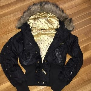 Apple Bottom Bomber Jacket w/ detachable fur hood